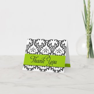Thank You Cards Apple Green Monogram Damask card