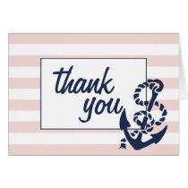 Thank You Cards | Blush Pink Nautical Stripe