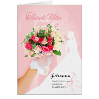 Thank You Cards Customized From the Bride Pink