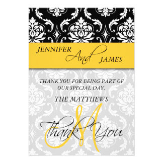 Thank You Cards Damask Monogram Name Yellow Custom Invite