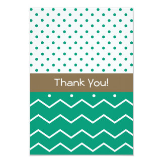 Thank You Cards Emerald Chevrons and Polka Dots