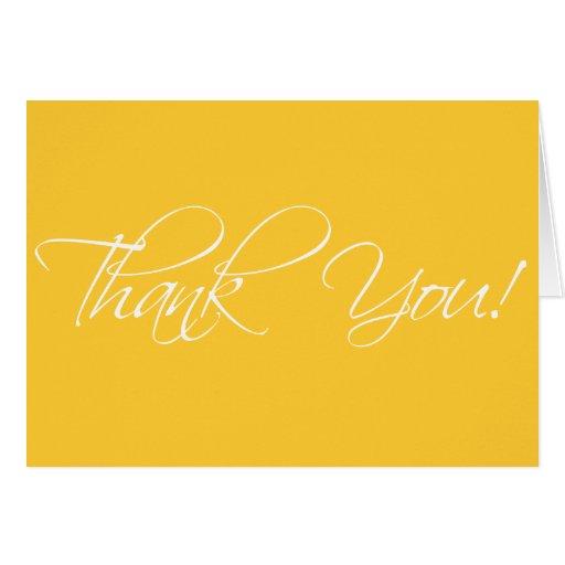 Thank you cards fancy script yellow zazzle