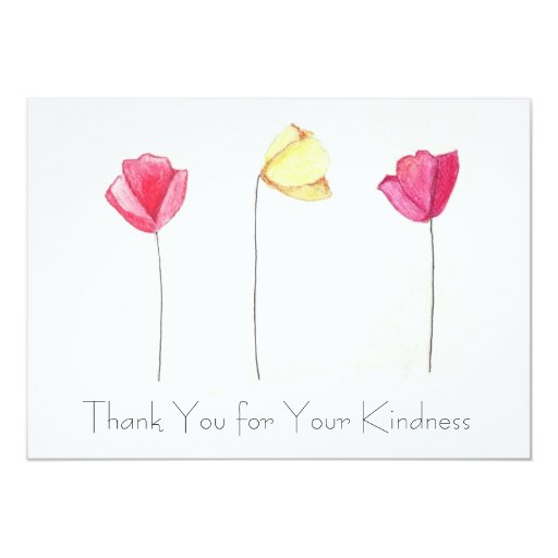 """Thank You Cards, Hand-drawn flowers 5"""" X 7"""" Invitation Card"""