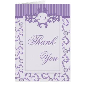 Thank You Cards, Lavender Purple Stripes & Damask
