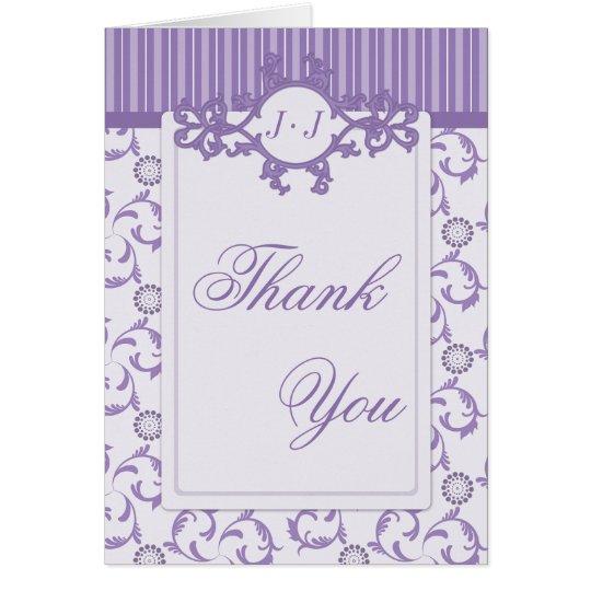 Thank You Cards, Lavender Purple Stripes & Damask Card