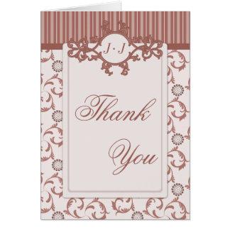 Thank You Cards, Spice Beige Stripes & Damask