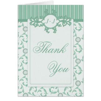 Thank You Cards, Summer Green Stripes & Damask