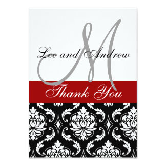 Thank You Cards with Monogram Names Red Damask