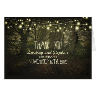 Thank you cards with string lights tree path