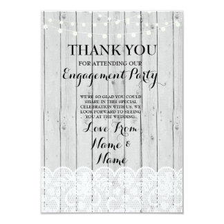 Thank You Cards Wood Lights Rustic Winter Lace