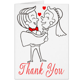 Thank You Cartoon Bride & Groom Red, White Wedding Card