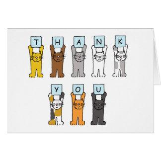 Thank You cartoon cats . Card