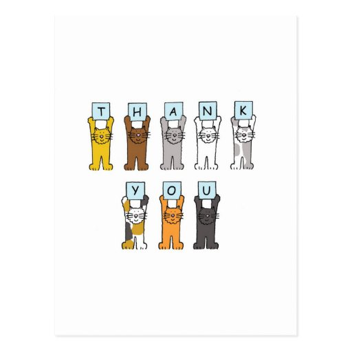 Thank You cartoon cats . Post Cards