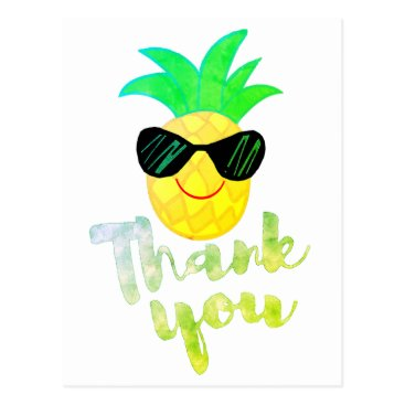 Beach Themed thank you cartoon summer pineapple postcard