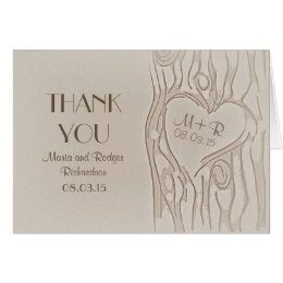Thank you carved tree rustic wedding cards