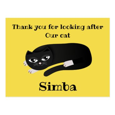 Thank you cat sitter postcard