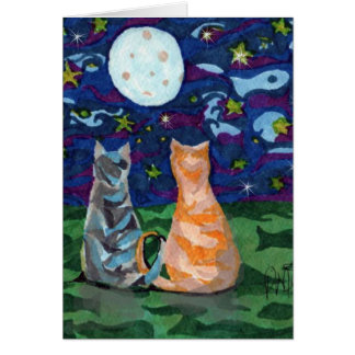 Thank You Cats in Moonlight Card