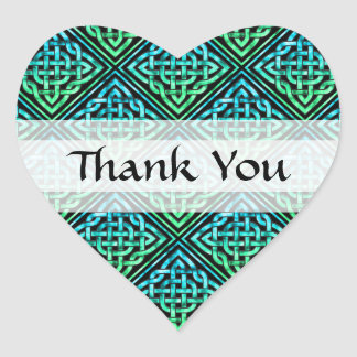 Thank You Celtic Knot - Diamond Blue Green Heart Sticker