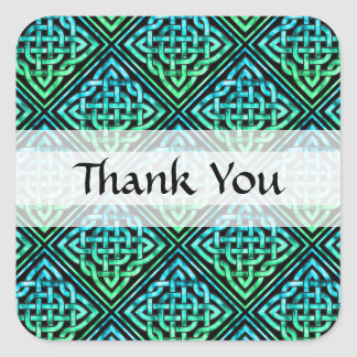 Thank You Celtic Knot - Diamond Blue Green Square Sticker