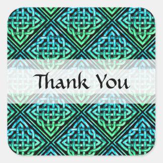Thank You Celtic Knot - Diamond Blue Green Square Sticker