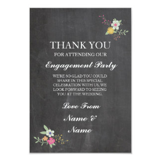 Thank You Chalkboard Rustic Floral Flowers Card