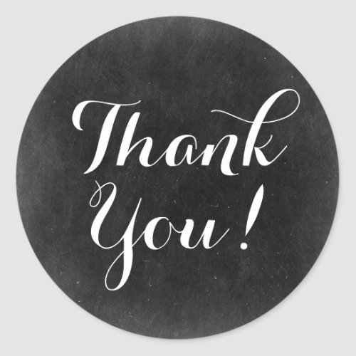 Thank You Chalkboard Rustic Shabby Cottage Chic Classic Round Sticker