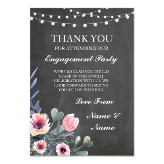 Thank You Chalkboard Rustic String Lights Card