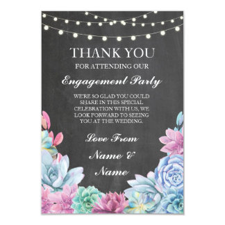 Thank You Chalkboard Rustic Succulents Card