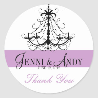 Thank You Chandelier Names Wedding Favour Sickers Classic Round Sticker