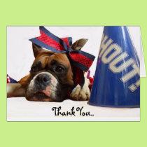 Thank You Cheerleader boxer greeting card