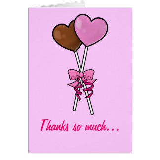 Thank You: Chocolate and Pink Lollipops Card
