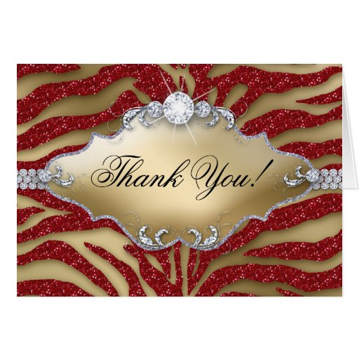 Thank You Christmas Card Zebra Sparkle Red Gold
