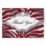 Thank You Christmas Card Zebra Sparkle Red Silver