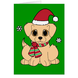Thank You Christmas Gift Golden Puppy Card