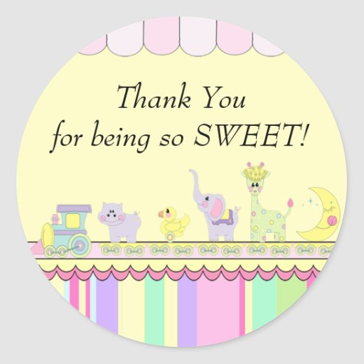 Thank You! Circus Baby Train Baby Shower Classic Round Sticker