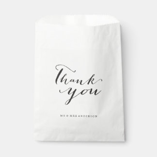 Thank You Classic Script Calligraphy Name Wedding Favor Bags