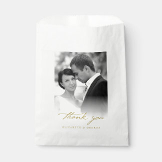 Thank You Classic Script Calligraphy Photo Wedding Favor Bag