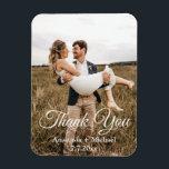 "thank you,classic script,wedding photo magnet<br><div class=""desc"">thank you, classic script,  country wedding photo , custom</div>"