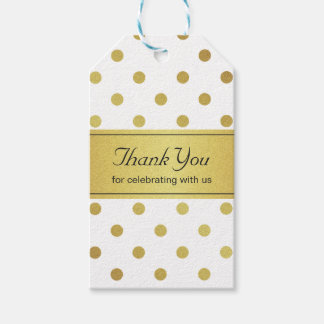 Thank You Classy White and Gold Glitter Polka Dots Gift Tags