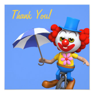 Thank You! Clown Unicycle Thankyou Card