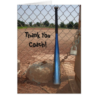 Thank You Coach baseball greeting card