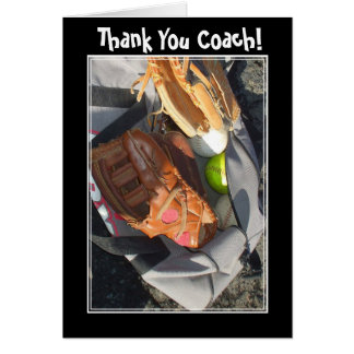 Thank You Coach baseball mitt greeting card
