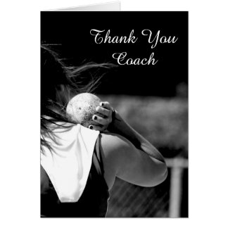 Thank You Coach Girl Shotput greeting card