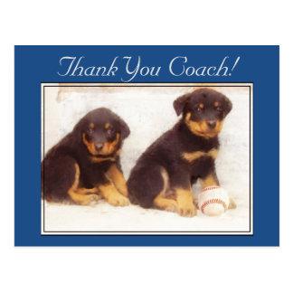 Thank You Coach Rottweiler puppies postcard