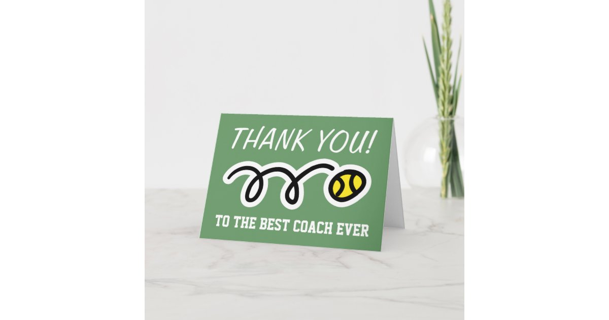 Thank you coach tennis greeting cards zazzle m4hsunfo