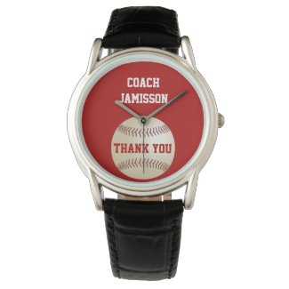Thank You Coach Wrist Watch Personalized, Baseball