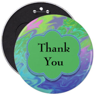 Thank You Colorful Blue Green Abstract Pins