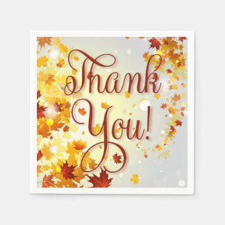 Thank You Colorful Fall Paper Napkins With Leaves