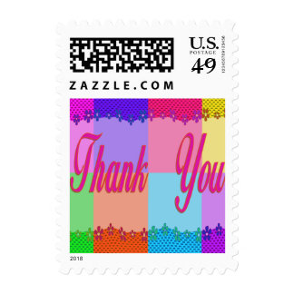 Thank You colorful flowers Stamp