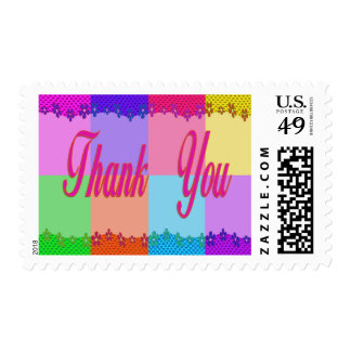 Thank You colorful flowers Postage Stamps